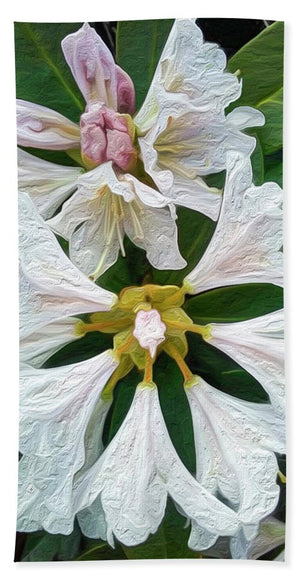 Rhododendron Flowers - Stylized - Beach Towel