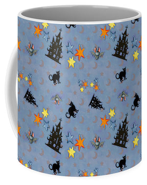 Scaredy Cat - Blue Pattern - Mug