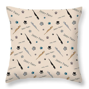 Sleepy Puppy Pattern - Throw Pillow