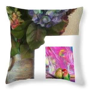 Two Birds on a Branch Picture in a Picture - Throw Pillow