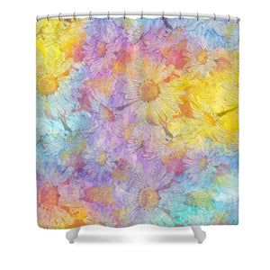White Chamomile Flowers - Shower Curtain