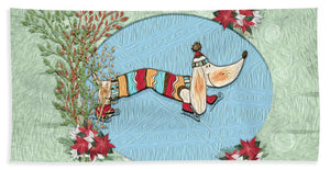 Winter Skate - Dog - Beach Towel