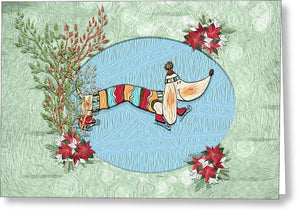 Winter Skate - Dog - Greeting Card