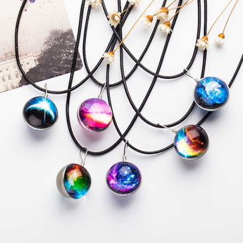 2017 Duplex Planet Crystal Stars Ball Glass Galaxy Pattern Leather Chain Pendants Maxi Necklace Glass Galaxy Lovely Necklace - Trendy Avenue Shop