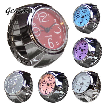 Genvivia Quartz Watch Dial Analog Watch Creative Stainless Steel Cool Elastic Finger Ring Watch montre femme - Trendy Avenue Shop
