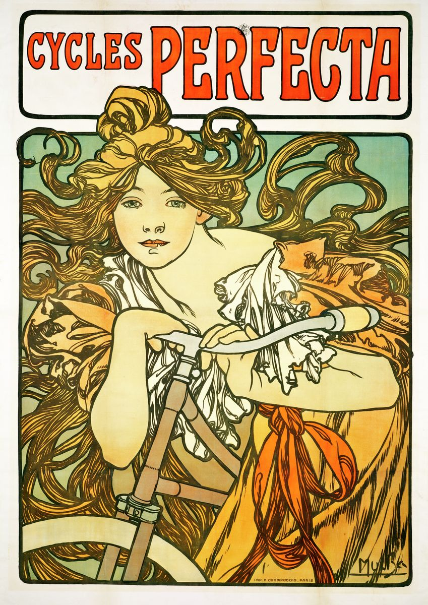 Cycles Perfecta - Alphonse Mucha - Hanging Creations wall art giclée print art for sale