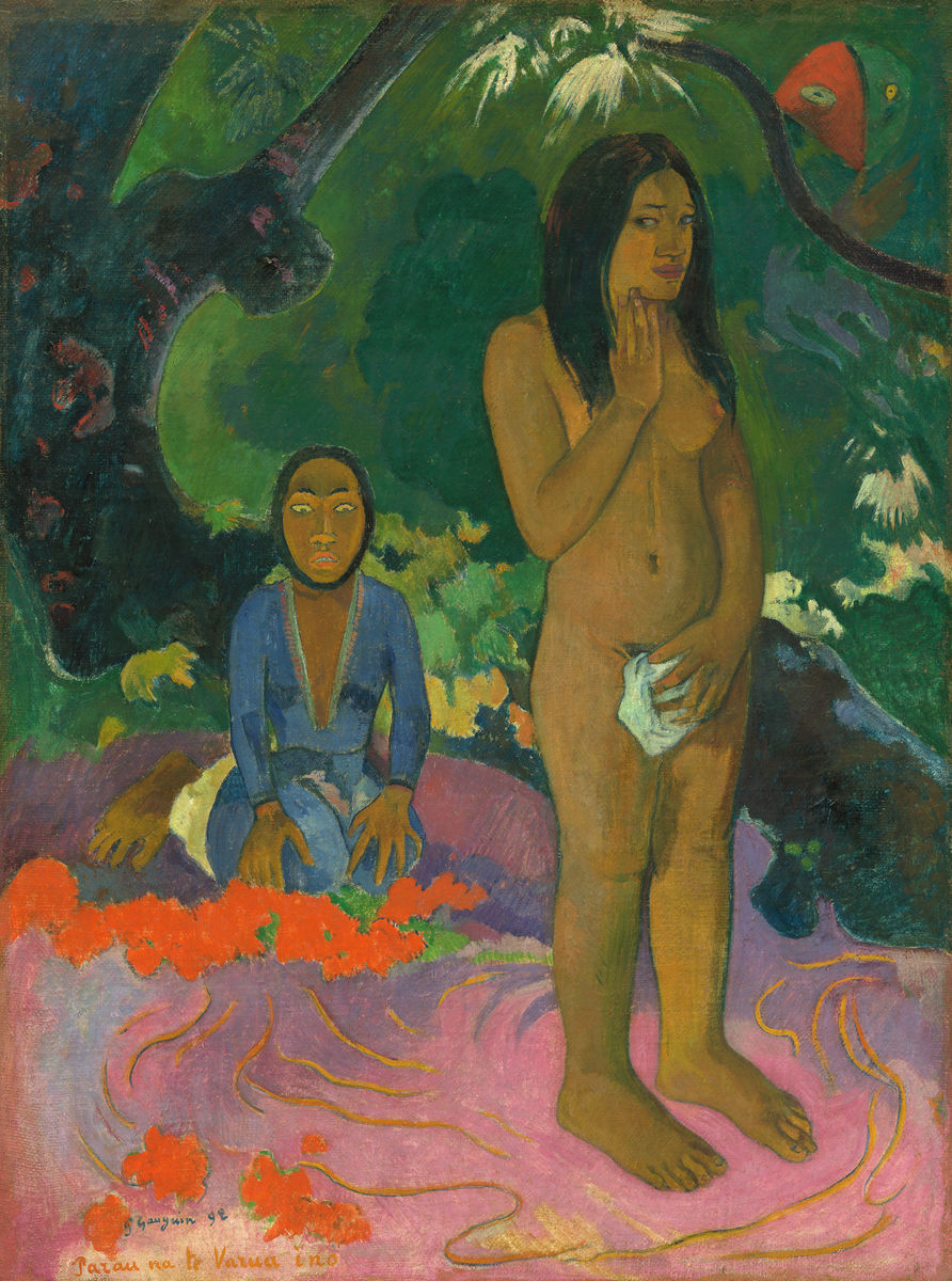 Paul Gauguin - Parau na te Varua ino (Words of the Devil) - Hanging Creations wall art giclée print art for sale