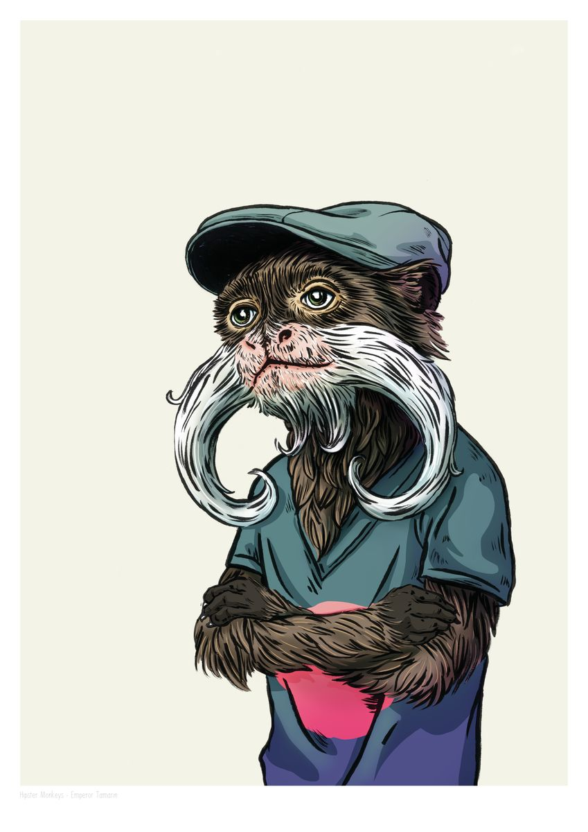A2_EmperorTamarin_HipMonkeys_FilipeAlcada - Hanging Creations wall art giclée print art for sale