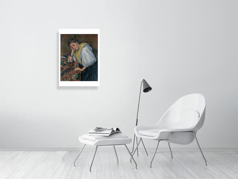 Young Italian Woman at a Table - Paul C√©zanne - Hanging Creations wall art giclée print art for sale