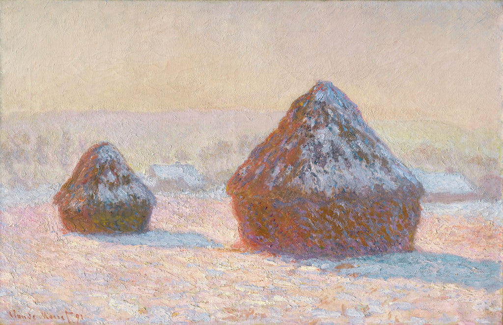 Wheatstacks, Snow Effect, Morning - Claude Monet - Hanging Creations wall art giclée print art for sale