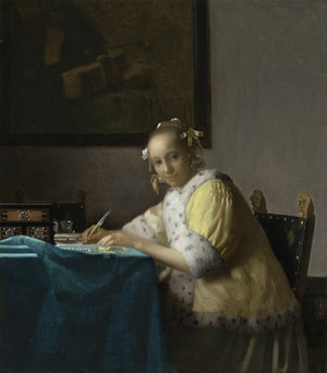 Johannes Vermeer - A Lady Writing - Hanging Creations wall art giclée print art for sale