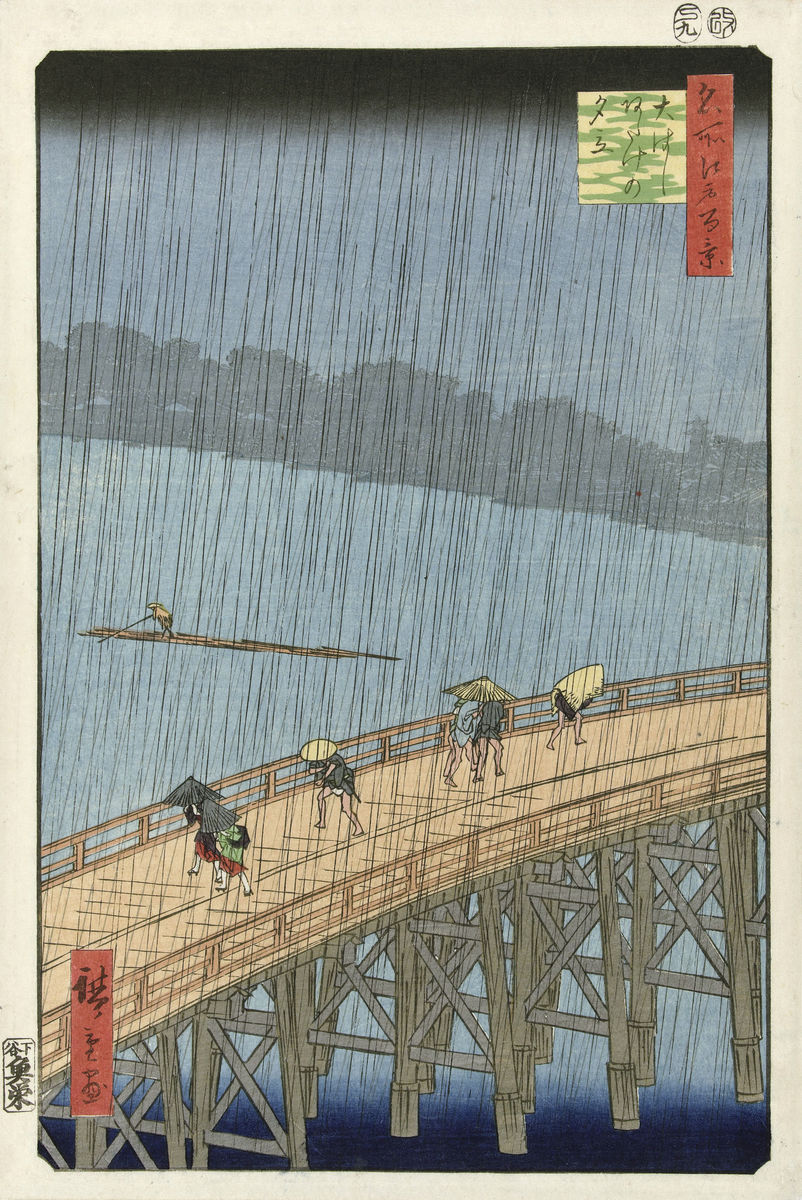 Unexpected downpour on the big bridge at Atake, Hiroshige (I), Utagawa. - Hanging Creations wall art giclée print art for sale