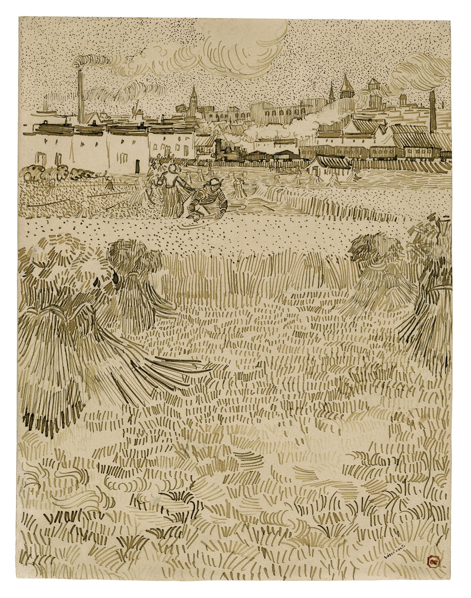 Arles: View from the Wheatfields - Vincent van Gogh - Hanging Creations wall art giclée print art for sale