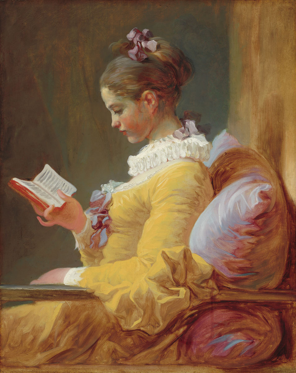 Jean HonoreÃÅ Fragonard - Young Girl Reading - Hanging Creations wall art giclée print art for sale