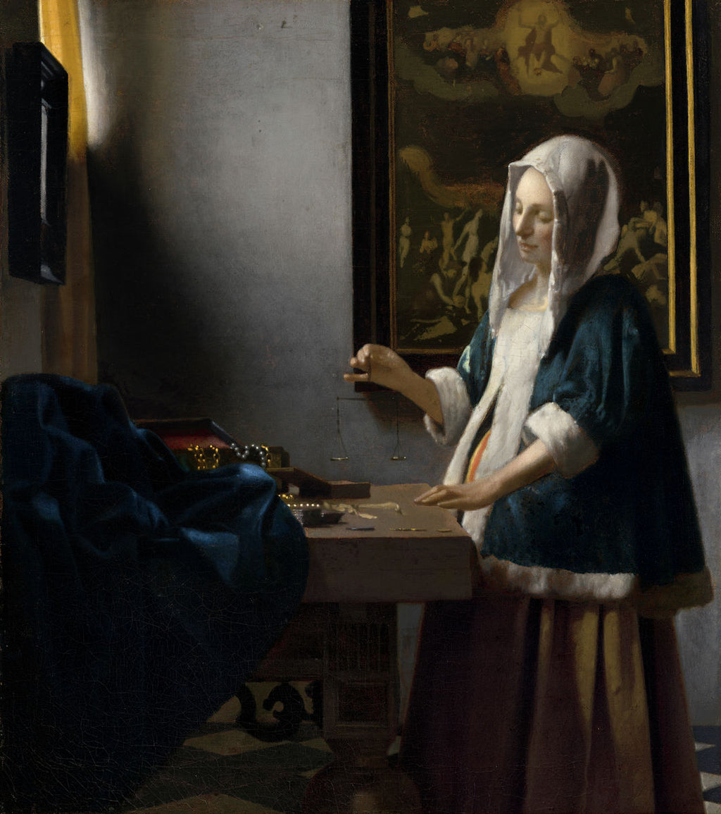 Johannes Vermeer - Woman Holding a Balance - Hanging Creations wall art giclée print art for sale
