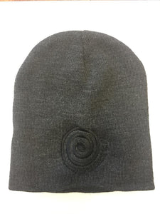 Beanie, Black on Charcoal Embroidered