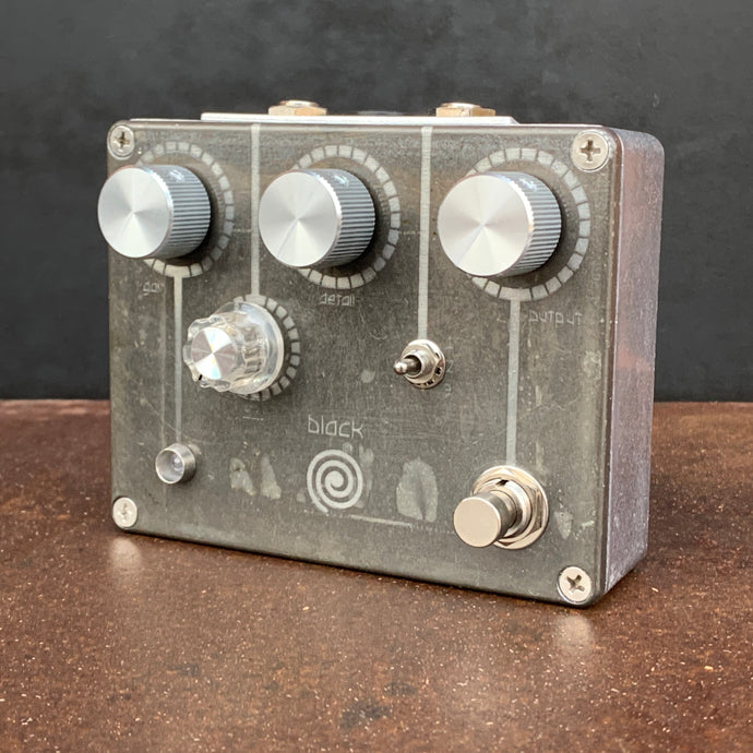 Black Spiral Fuzz guitar pedal in a one of a kind finish.