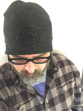 Load image into Gallery viewer, Beanie, Black on Charcoal Embroidered
