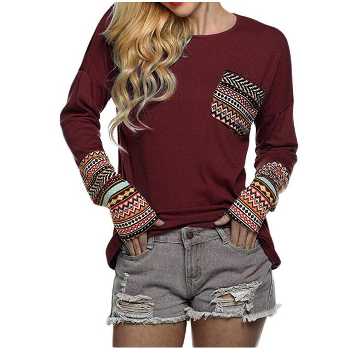 Women's Long Sleeve O-Neck Patchwork Casual Loose T-Shirts Blouse