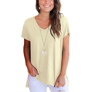 T-shirt Women Cotton Summer V-Neck