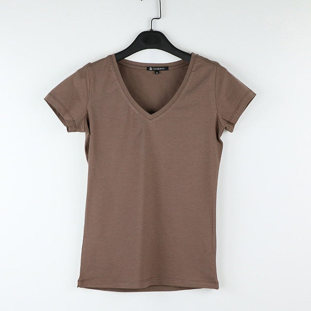 High Quality V-Neck 15 Candy Color Cotton