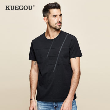 KUEGOU 2020 Summer 100% Cotton Plain Black T Shirt Men