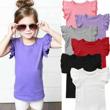 Toddler Kids Baby Girl Ruffle Short Sleeve