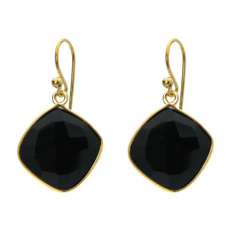 Black Onyx Square Danglers - Jewelry & Watches