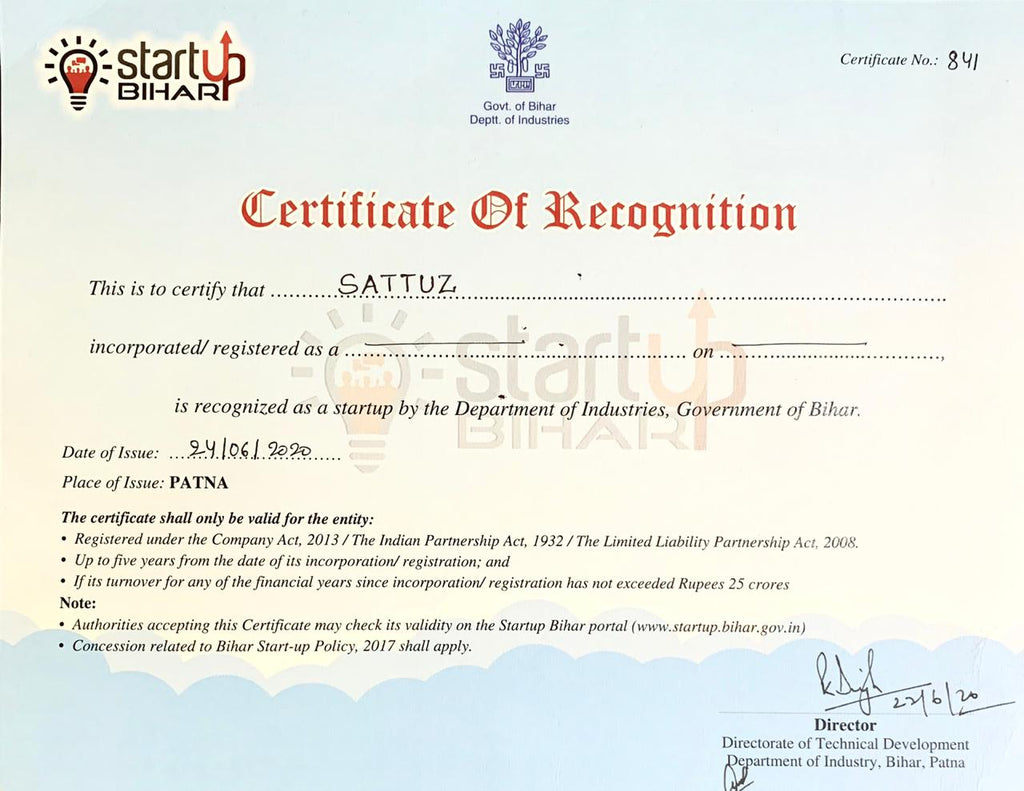 Bihar Startup Recognition Certificate