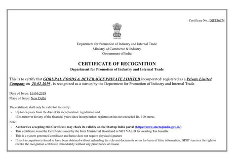 Certificate of Recognition as StartUp by Goverment of India