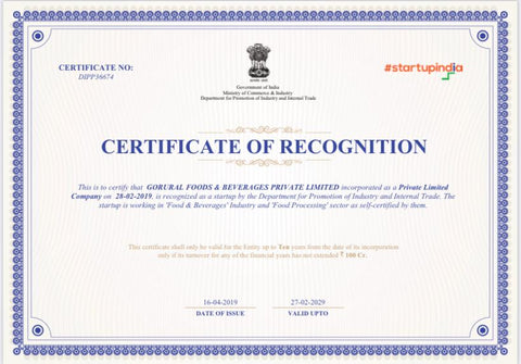 Certificate of Recognition as StartUp in Food & Beverages Industry by Government of India