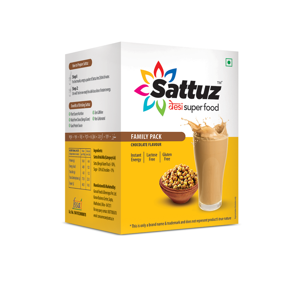 Sattu based desi superfood Sattuz in chocolate flavor