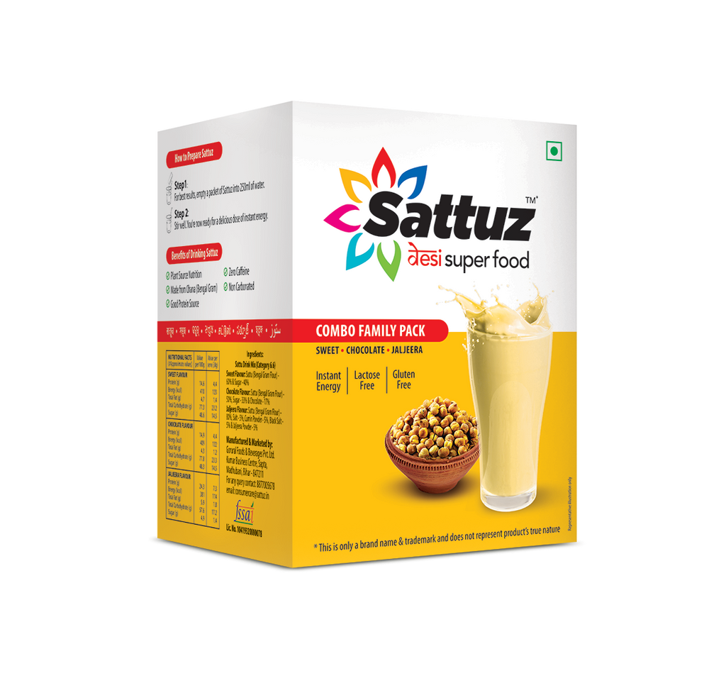 Sattu based desi superfood Sattuz in combo flavors of sweet, jaljeera and chocolate