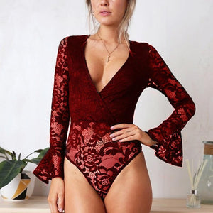 Sexy Lace V Neck Long-Sleeved Rompers