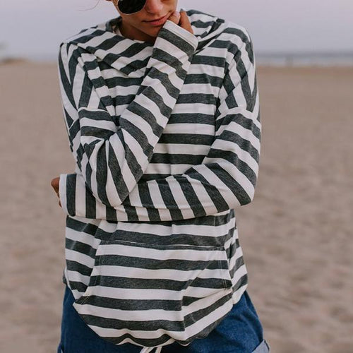 Long Sleeve Black And White Striped Hoodied