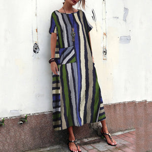 Cotton And Linen Striped Printed Dresses For Women