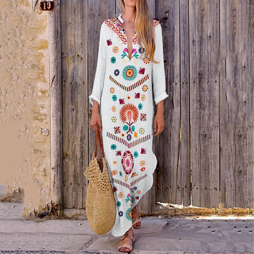 V-Neck Bohemian Printed Vintage Dress Maxi Dress