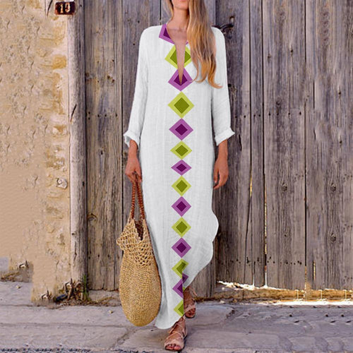 Printed Geometric V-Neck Dress