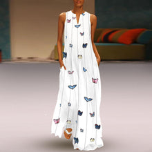 Load image into Gallery viewer, Butterfly Printed Maxi Shift Dress