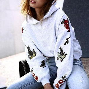 Color Butterfly Print With Long Sleeve Hoodie