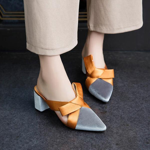 Elegant Bow-Knot Women Slipperl Chunky Heel Patchwork Sandals