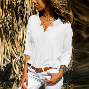 Casual Lapel Plain V Collar Loose Shirt