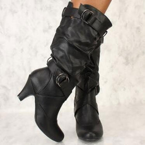 Women's Boots With High Buckles Low Heel Boots