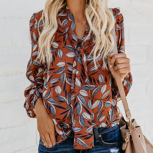 V-Collar Print Long-Sleeved Tie Chiffon Shirt