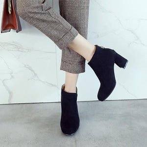 Women Square Heel Ankle Boots Autumn Winter Leather Shoes