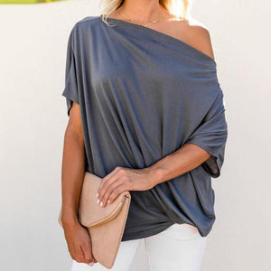 Sexy Pure Color   Slanted Shoulder Baggy Blouse