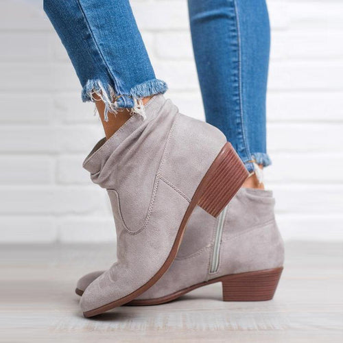 Women Plain Chunky Heel Zipper Ankle Boots