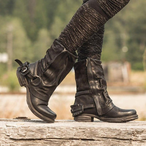 Women Winter Low Heel Side Zipper Leather Boots