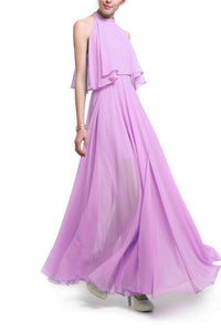 Sweet Plain Halter Off Shoulder Chiffon Slit Evening  Dress