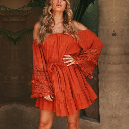 Casual Sexy V Neck Off Shoulder Pagoda Sleeve Mini Dresses
